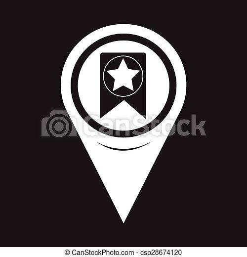 Map Pointer Web Bookmark Ribbon Icon - csp28674120
