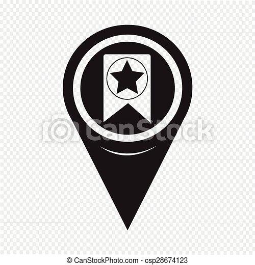 Map Pointer Web Bookmark Ribbon Icon - csp28674123