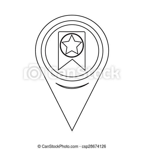 Map Pointer Web Bookmark Ribbon Icon - csp28674126