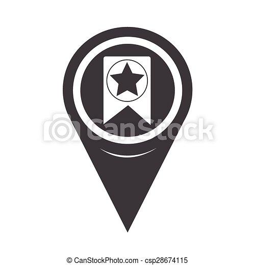 Map Pointer Web Bookmark Ribbon Icon - csp28674115