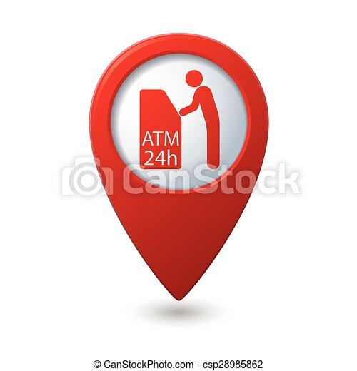 Map pointer with ATM cashpoint icon - csp28985862