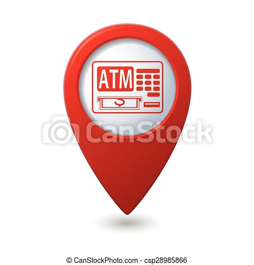 Map pointer with ATM cashpoint icon - csp28985866