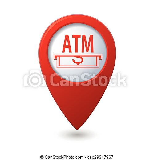 Map pointer with ATM cashpoint icon - csp29317967