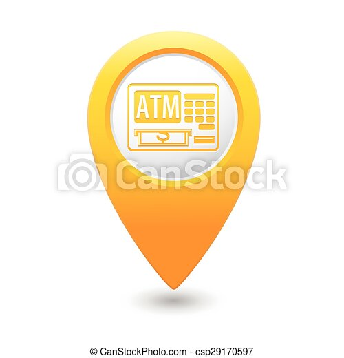 Map pointer with ATM cashpoint icon - csp29170597