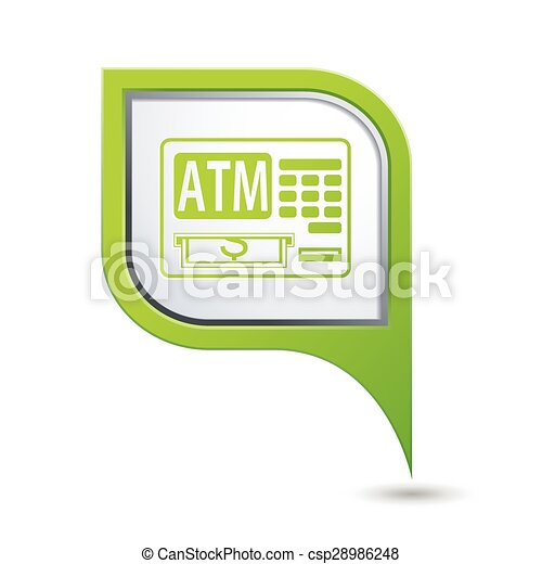Map pointer with ATM cashpoint icon - csp28986248