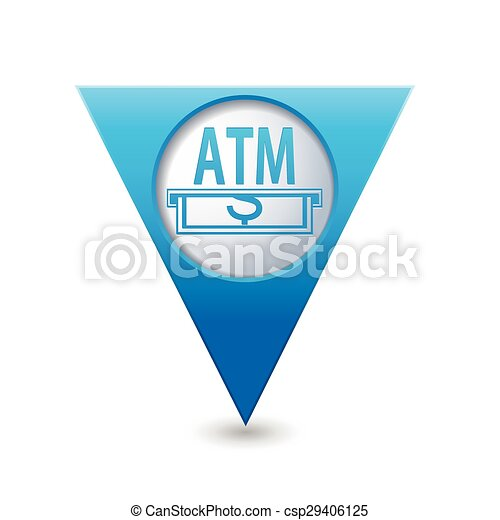 Map pointer with ATM cashpoint icon - csp29406125