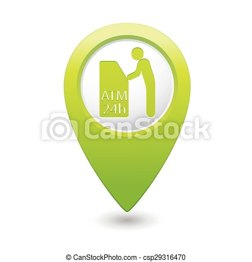 Map pointer with ATM cashpoint icon - csp29316470