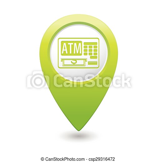 Map pointer with ATM cashpoint icon - csp29316472