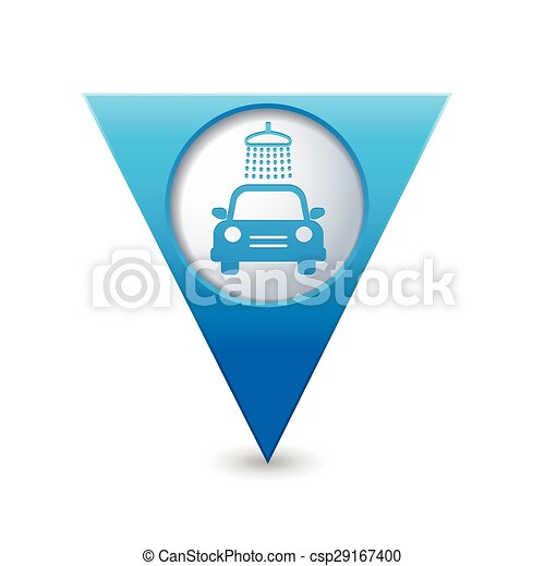Map pointer with car wash icon - csp29167400