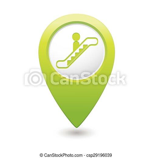 Map pointer with escalator icon - csp29196039
