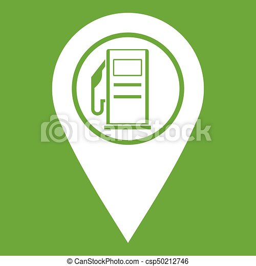 Map pointer with gas station symbol icon green