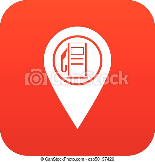 Map Pointer With Gas Station Symbol Icon Digital Red For Any Design