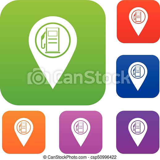 Map Pointer With Gas Station Symbol Set Color Collection Vector