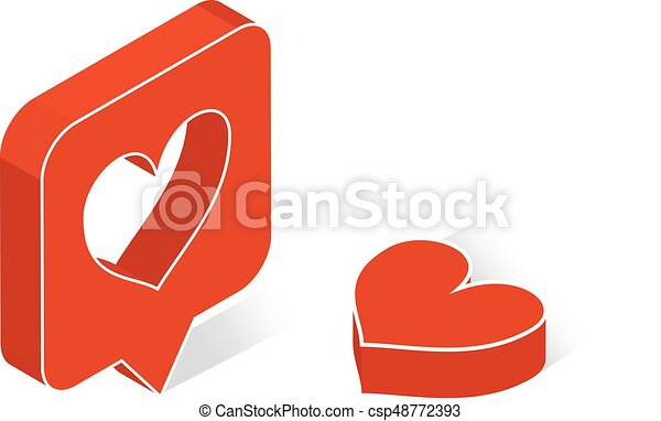 Map Pointer With Heart Symbol Flat Isometric Icon Or Logo 3d Style