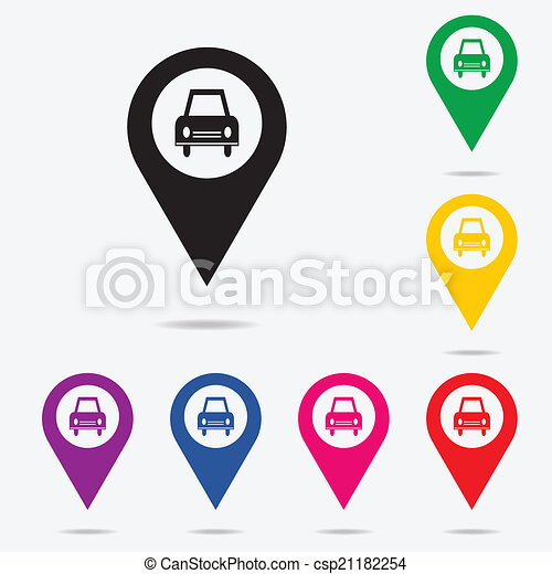 Map pointer with taxi icon. - csp21182254