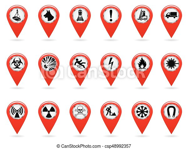 Map Pointers Set Of Safety Symbols Location And Specify Clipart