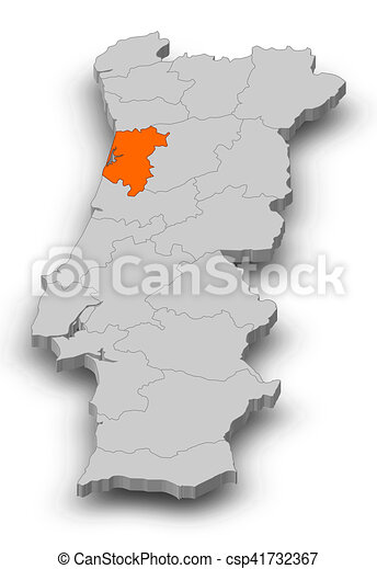 Map Portugal Aveiro 3d Illustration Map Of Portugal As A