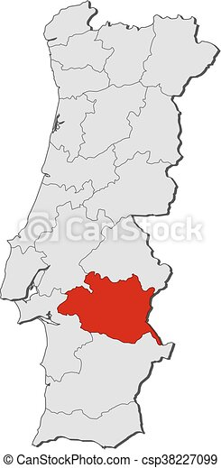 Map Portugal Evora Map Of Portugal With The Provinces Eps - Portugal map vector