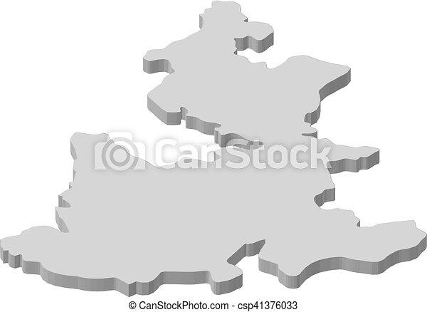 Map Puebla Mexico 3d Illustration Map Of Puebla A Province