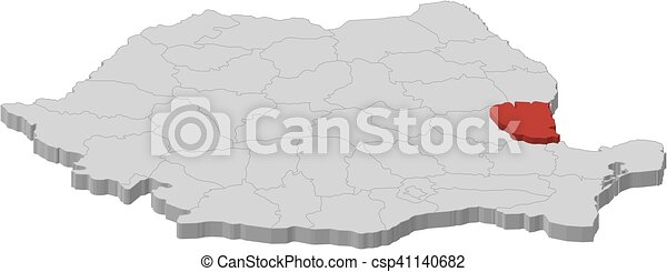 Map - romania, galati - 3d-illustration. Map of romania as a gray ...