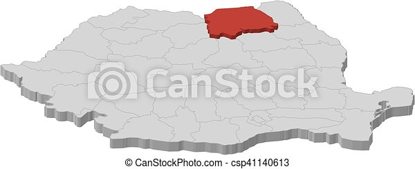 Map romania suceava 3dillustration Map of romania as
