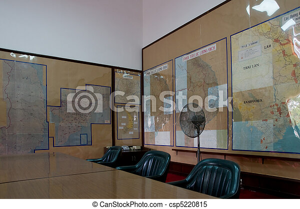 Map room at the Reunification Palace in Ho Chi Minh City - csp5220815