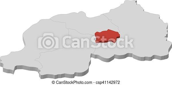 Map rwanda kigali 3dillustration Map of rwanda as a