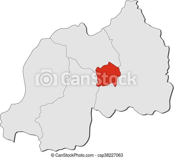 Map rwanda kigali Map of rwanda with the provinces clip art