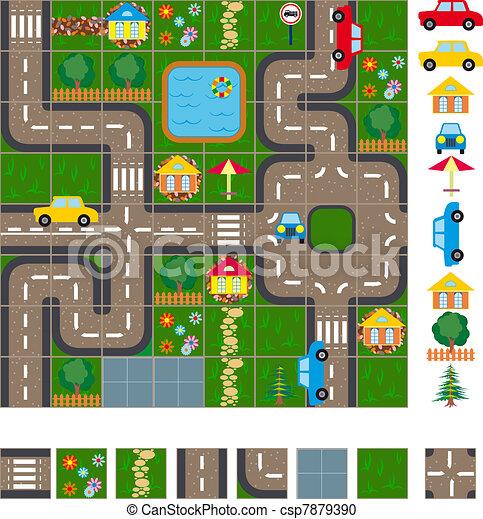 Map scheme of streets - csp7879390