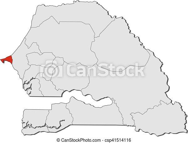 Map senegal dakar Map of senegal with the provinces vector