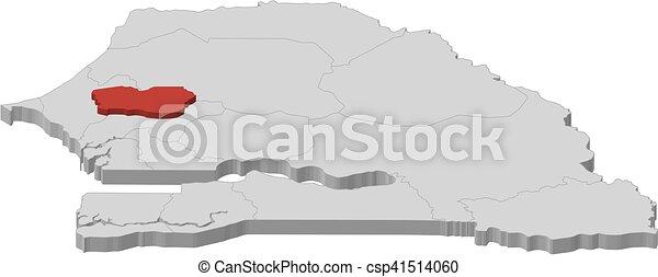 Map senegal diourbel 3dillustration Map of senegal as clip