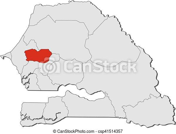 Map Senegal Diourbel Map Of Senegal With The Provinces - Senegal map vector