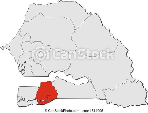 Map Senegal Sedhiou Map Of Senegal With The Provinces Eps - Senegal map vector