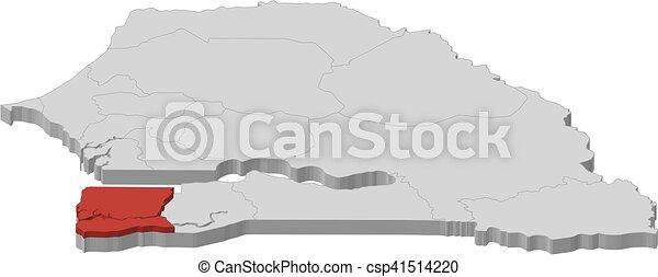 Map senegal ziguinchor 3dillustration Map of senegal