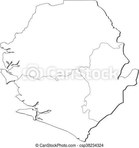 Map - sierra leone. Map of sierra leone, contous as a black line.