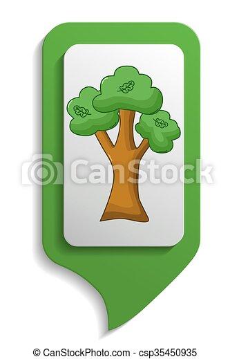 Map sign oak tree icon, cartoon style - csp35450935