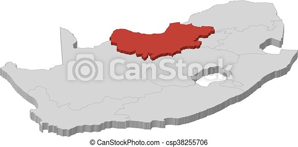 Vector Clipart of Map South Africa North West 3DIllustration