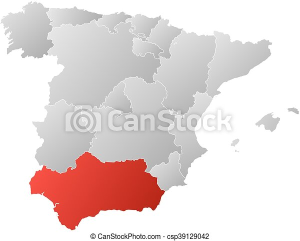 Map Spain Andalusia Map Of Spain With The Provinces Filled With A Linear Gradient Andalusia Is Highlighted