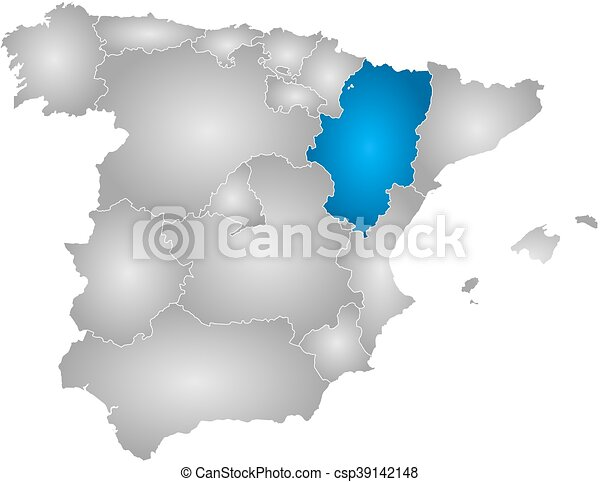 Map spain aragon Map of spain with the provinces filled eps