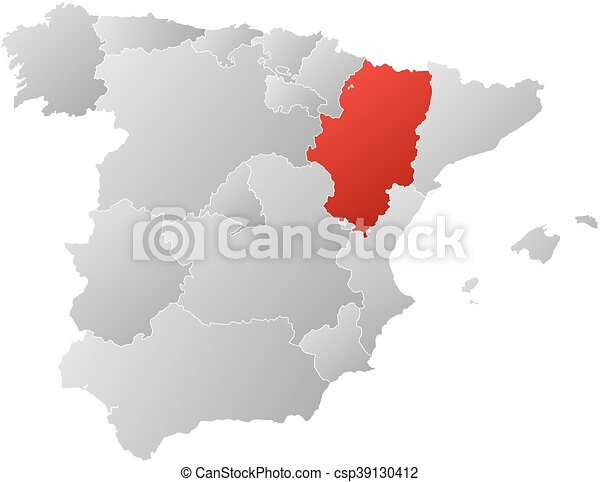 Map spain aragon Map of spain with the provinces filled