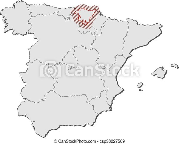 Map spain basque country Map of spain with the clip art