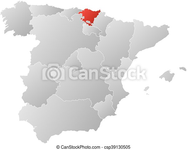 Map spain basque country Map of spain with the vector clipart