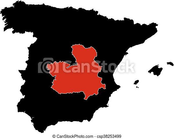 Map Of Spain La Mancha.Map Spain Castile La Mancha
