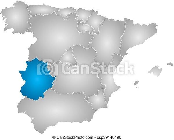 Map Of Spain Extremadura.Map Spain Extremadura