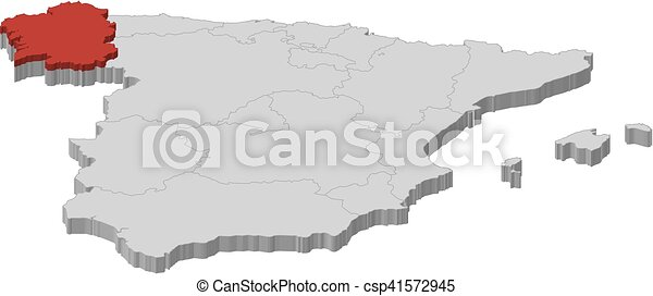 3d Map Of Spain.Map Spain Galicia 3d Illustration