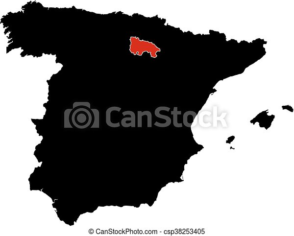 Map spain la rioja Map of spain in black la rioja is vector