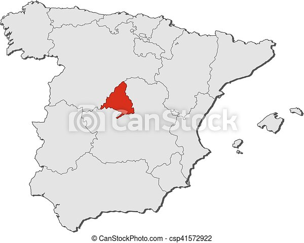 Map spain madrid Map of spain with the provinces madrid
