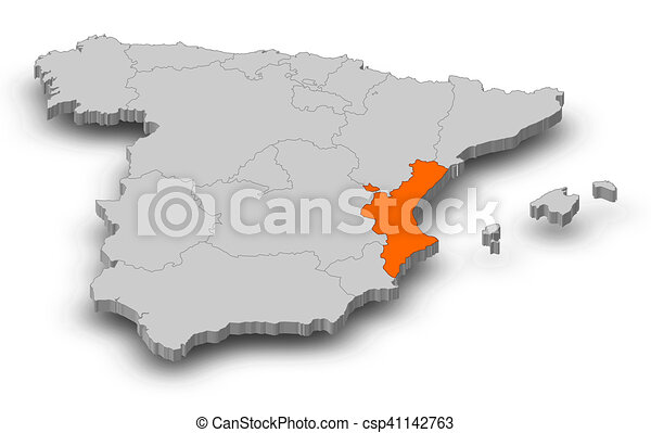 Valencian community location on the spain map