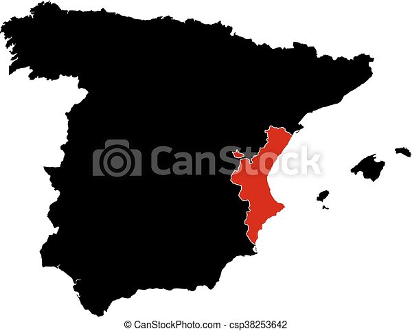 Map - spain, valencian community. Map of spain in black, valencian ...