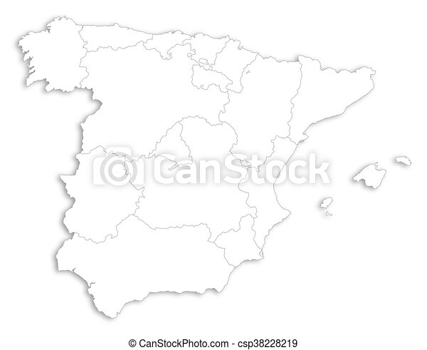 Map Of Spain Drawing.Map Spain Map Of Spain As A White Area Over Its Shadow
